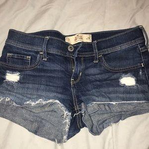 Hollister low-rise dark wash jean short short